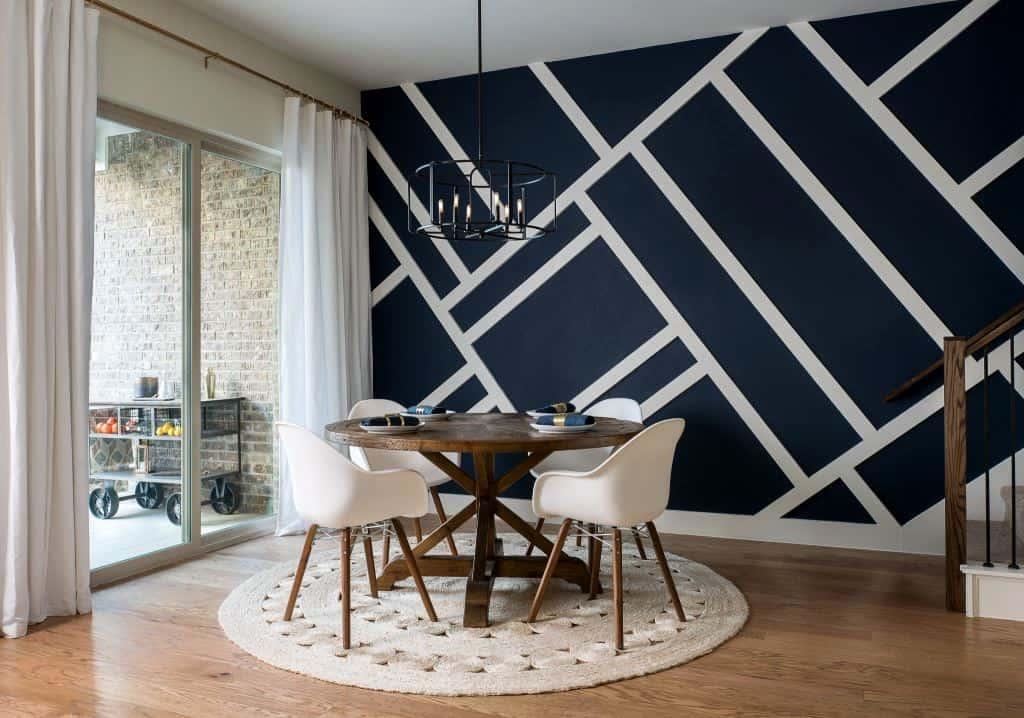 random white stripes pattern on a blue wall paint design