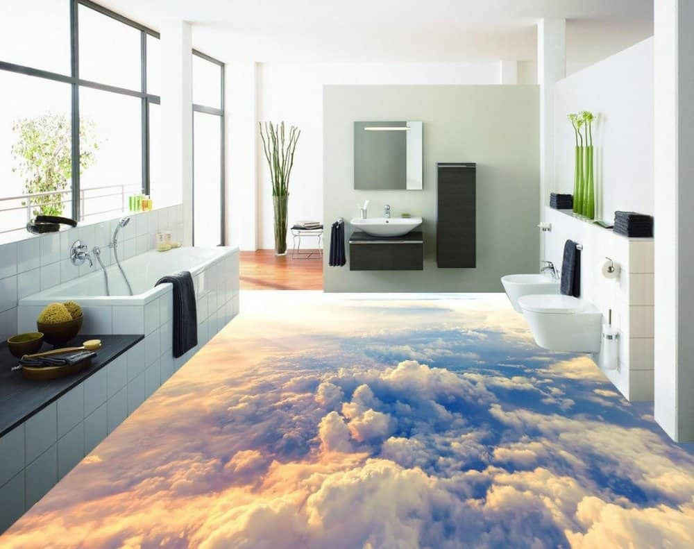 3D flooring sheet for bathroom with a sky and cloud design