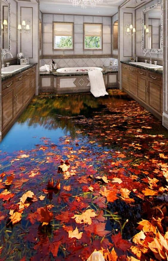 autumn leaves on a black surface 3d wallpaper for bathroom with wooden cabinets and a bathtub