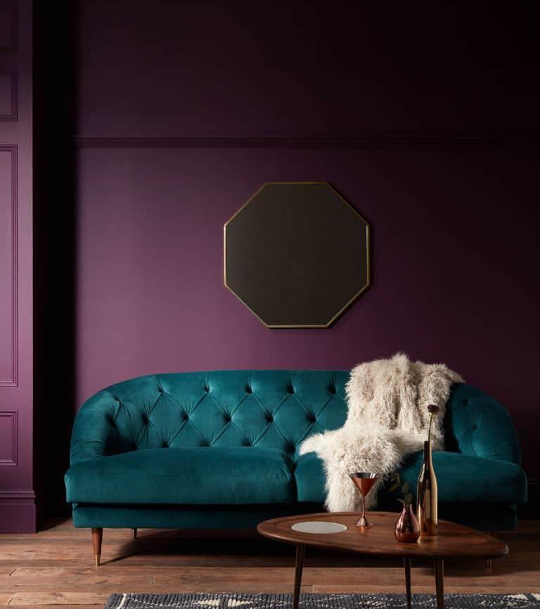 Dark rich purple color block wall paint design idea