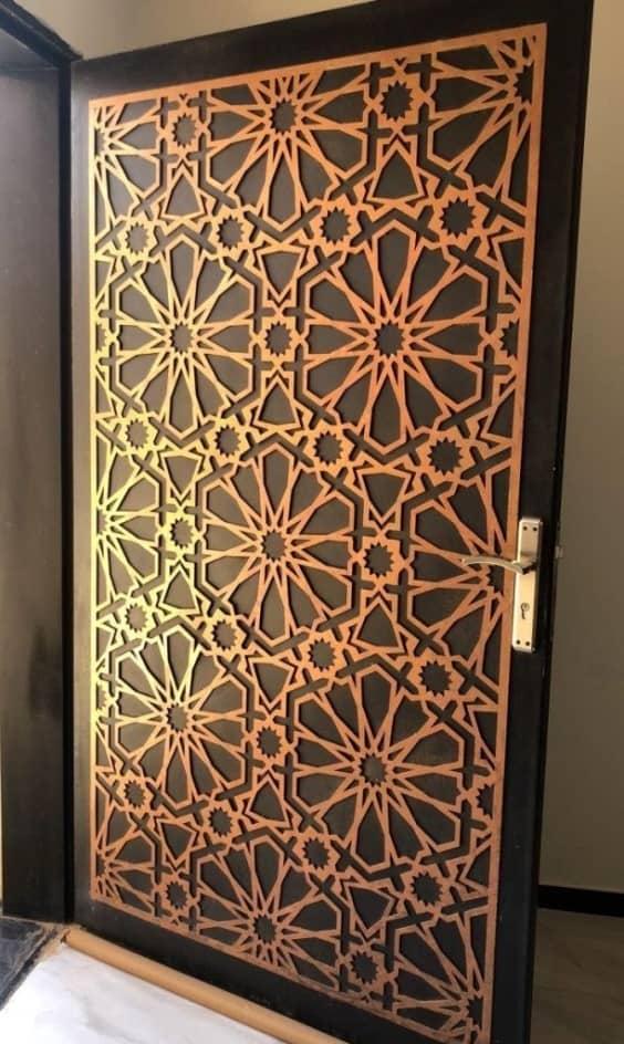 golden mdf jali for door