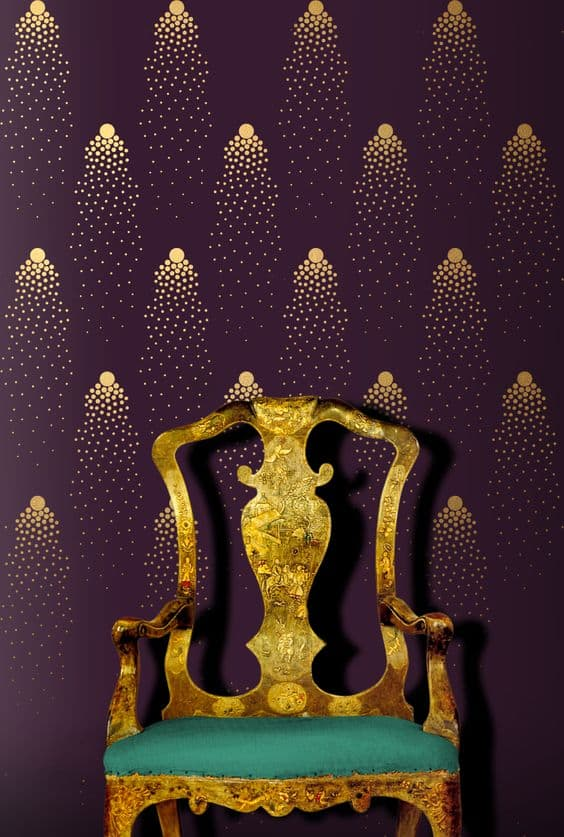 purple wall with golden highlights using stencils