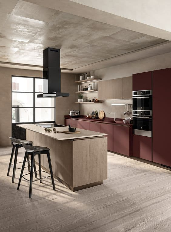 deep red coloured faux timber frameless kitchen cabinets