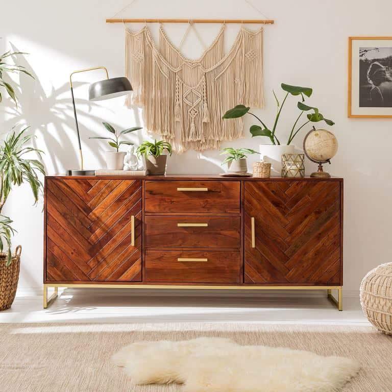 veener furniture, antique sideboard with brass