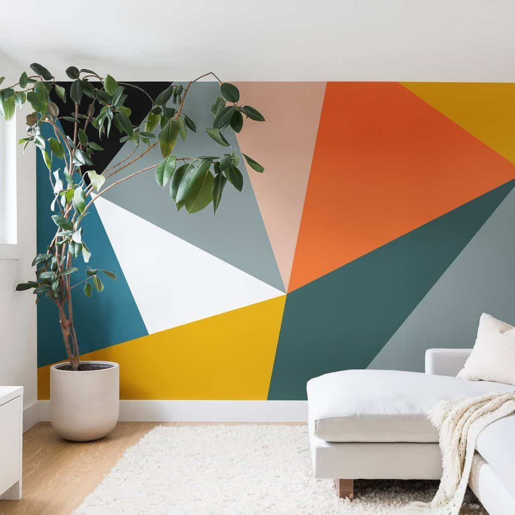 colorful wall painted using painter's tape
