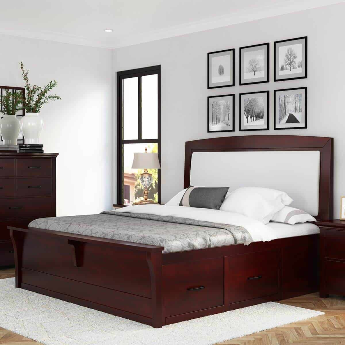 solid mahogany plywood bed design with storage space