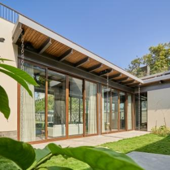Wood shade with glass walls