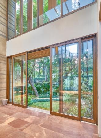 glass and wooden door