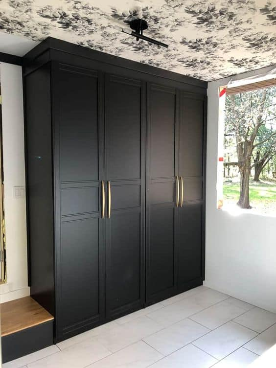 black full length plastic wardrobes with interior design, lights, and drawer system