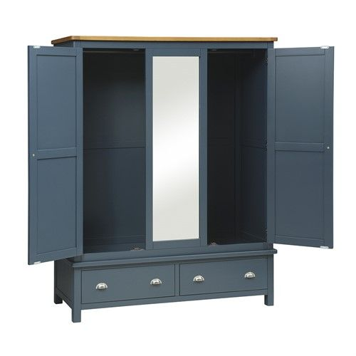 blue steel wardrobe with bottom drawers and mirror with interior design, lights, and drawer system