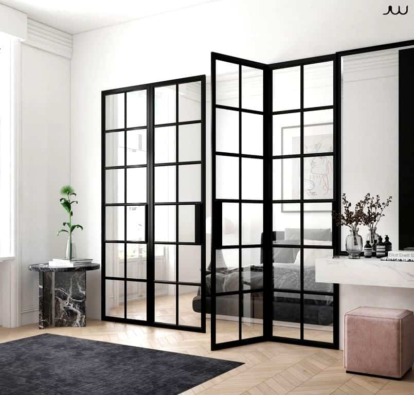 Revealing and beautiful black iron door with glass inserts