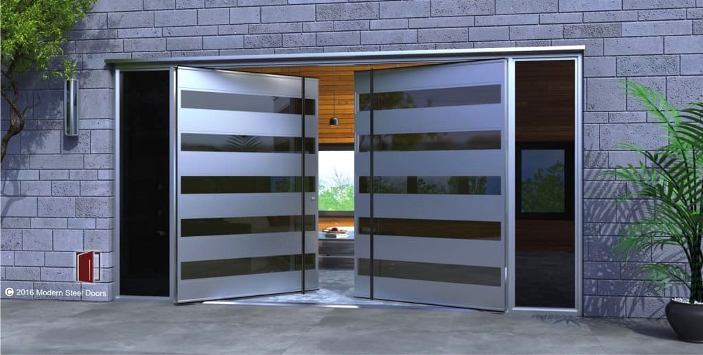 matte stainless steel door with glossy pattern
