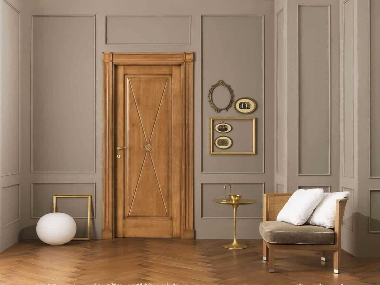 wood door with golden accents, wood door design