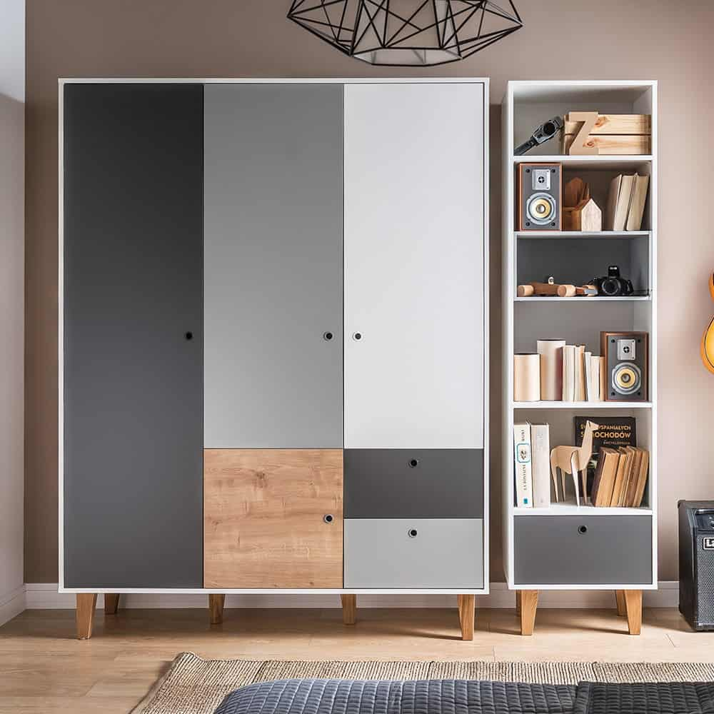 white, grey and charcoal colored triple door wardrobe design
