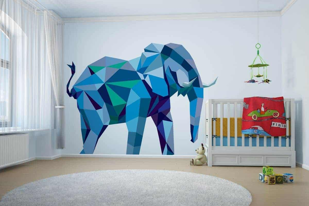 geometric wall paint design in the shape of elephant [painted with shades of blue