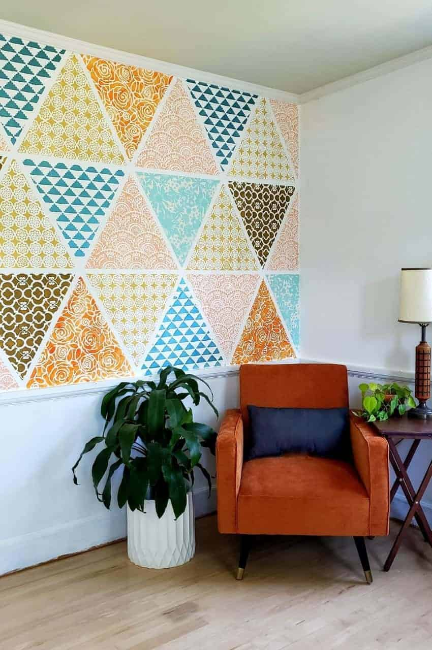 a multicolor patchwork stenciled wall
