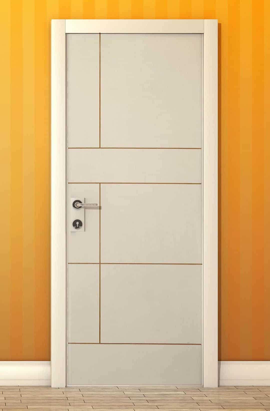white wpc door design on a yellow wall