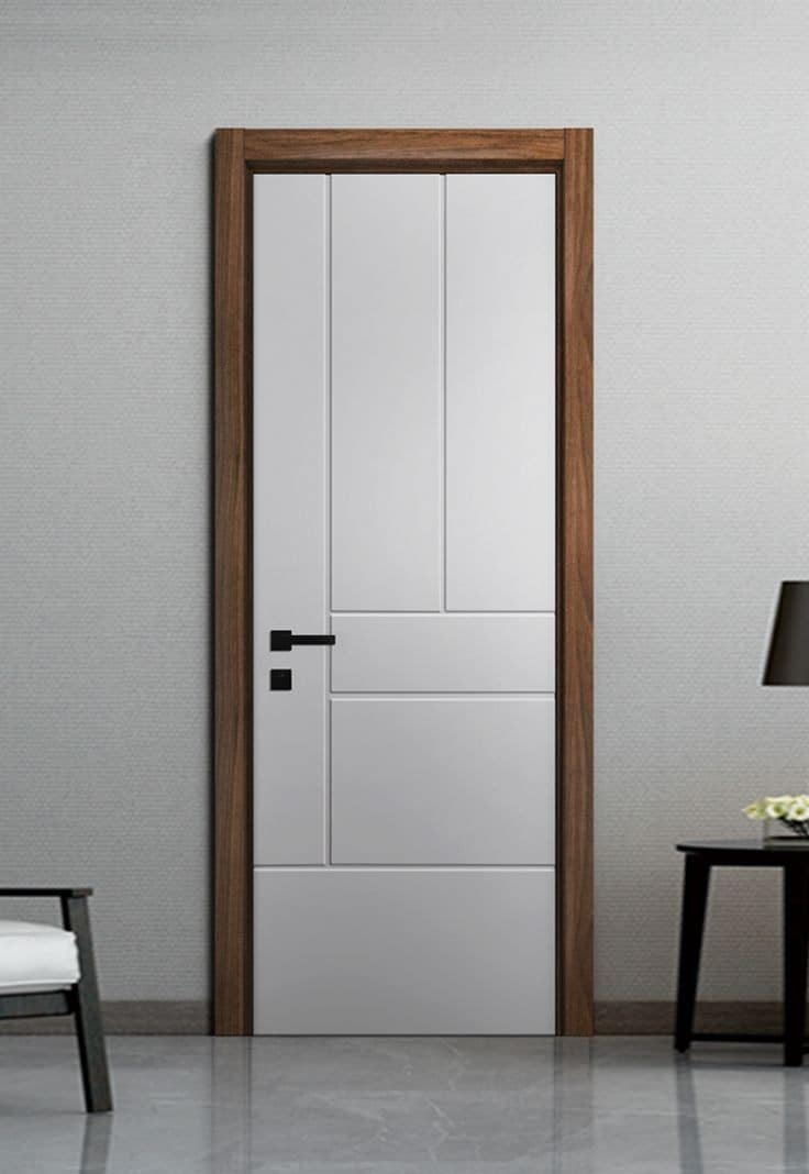 white WPC door design with brown wood frame