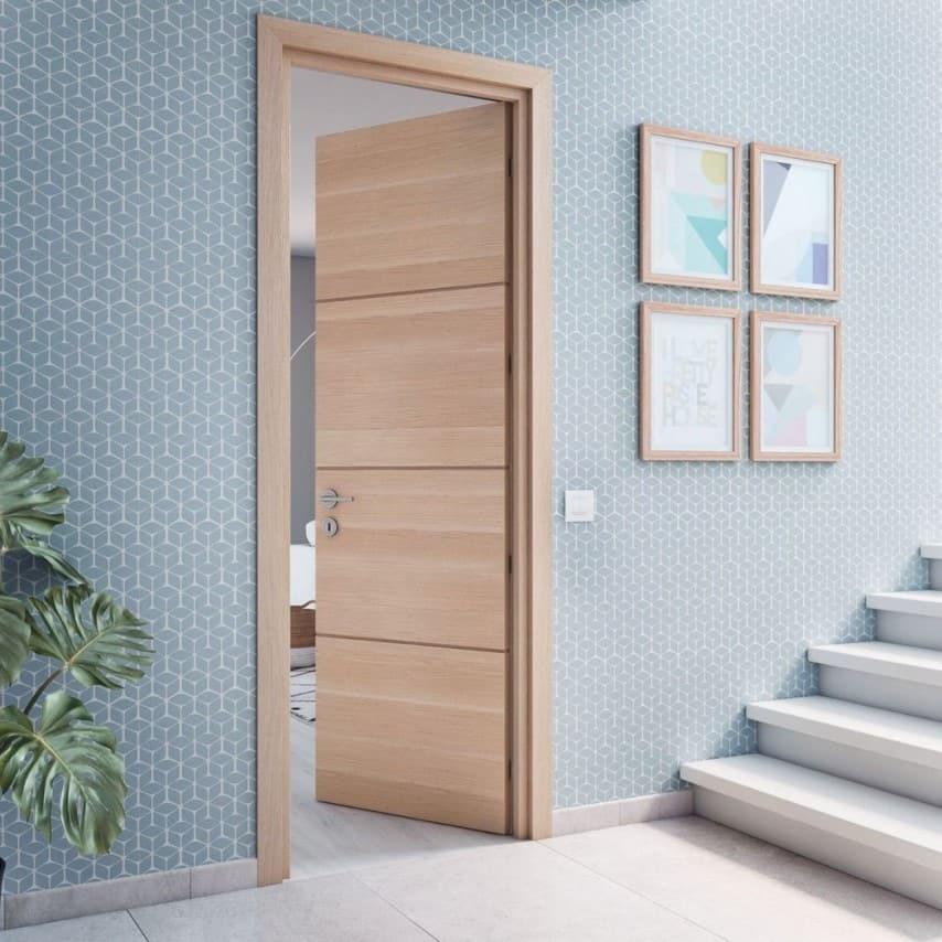 oak color wpc doors with steel hardware