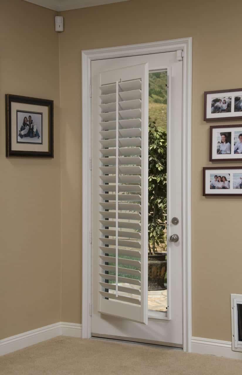 white door with plantation shutter