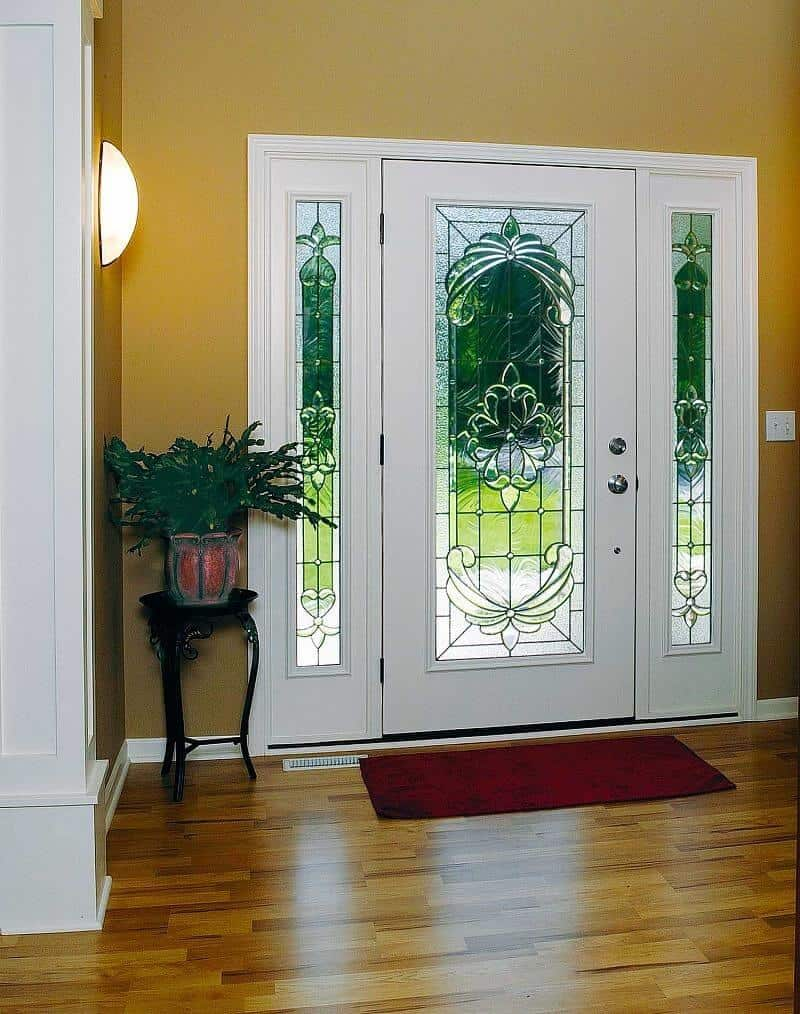 white door frame with glass windows on both sides