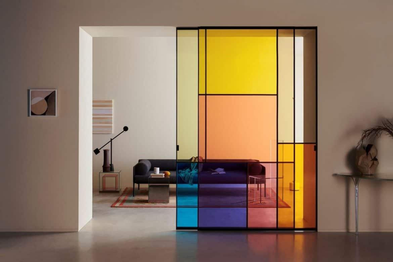 multi-colored painted glass door, sliding door design, room door design