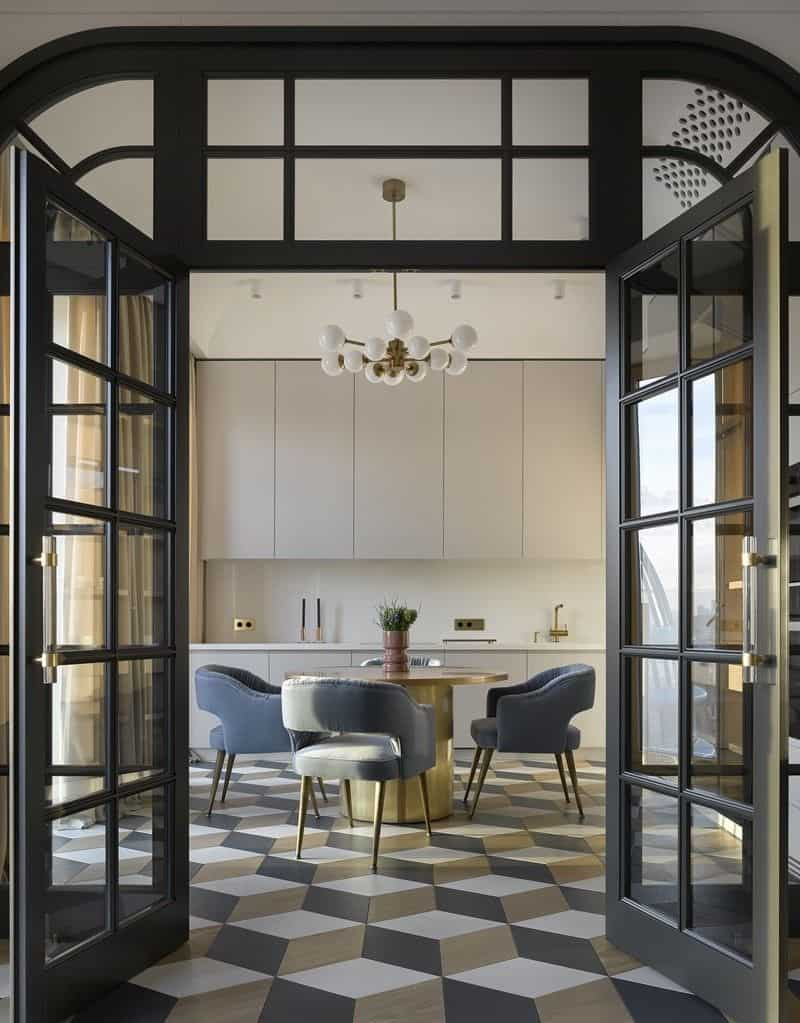tall grid patterned glass door with black metal frame