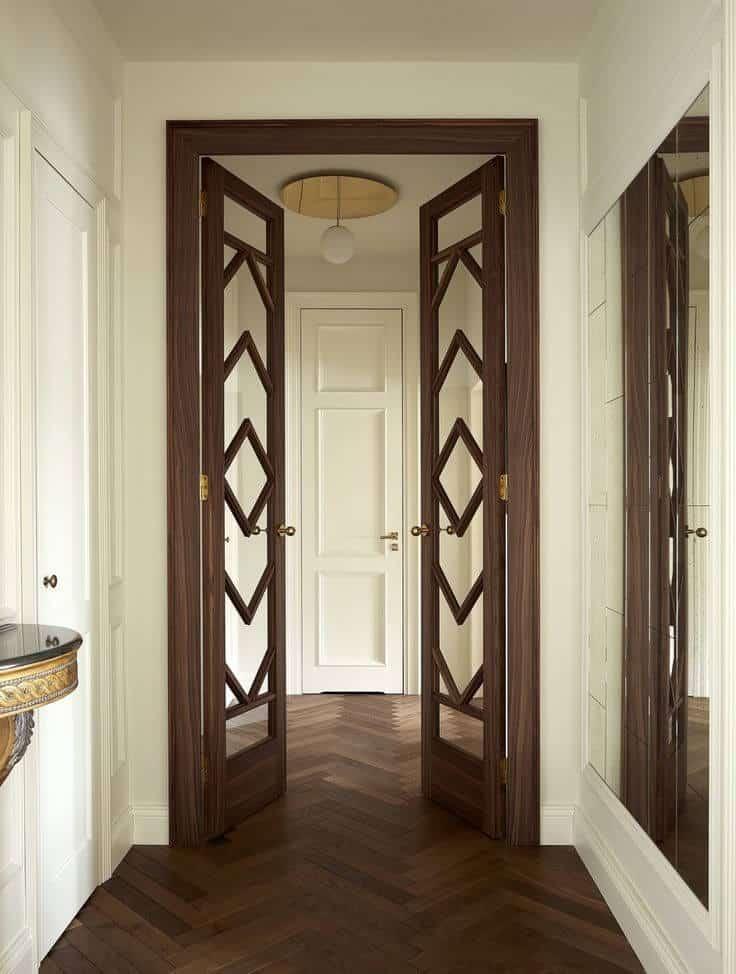 dooden door with golden hardware, bedroom door designs
