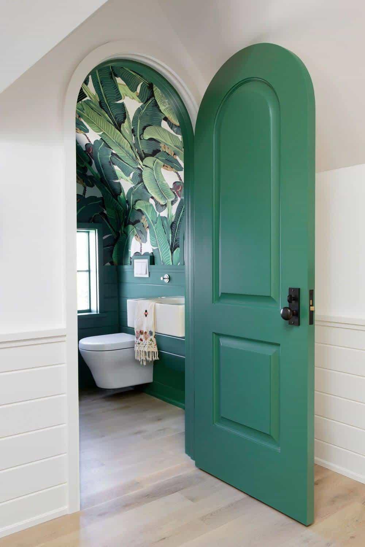 green arched bathroom door designs