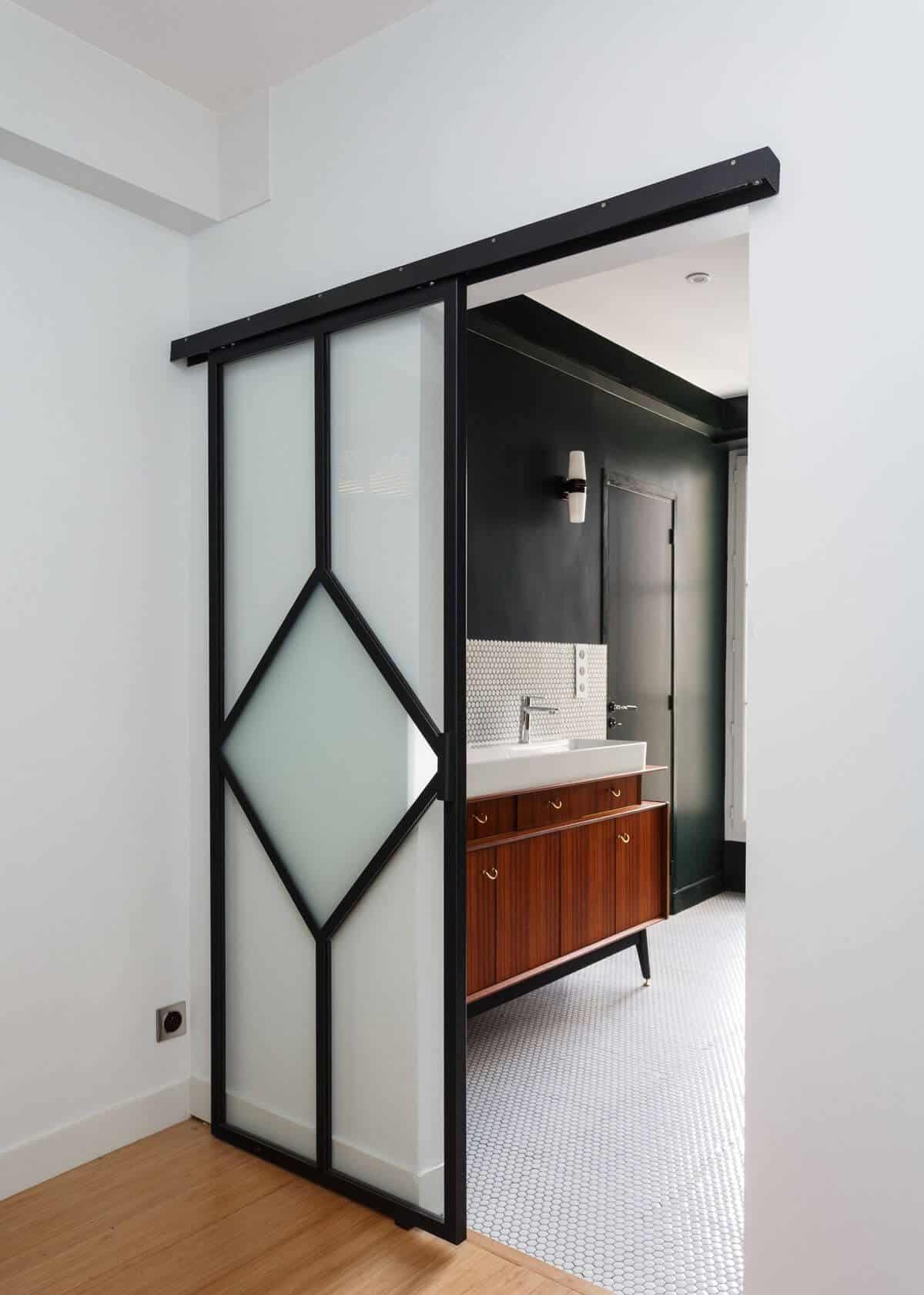 bathroom door designs with full frosted glass panel with black metal frame