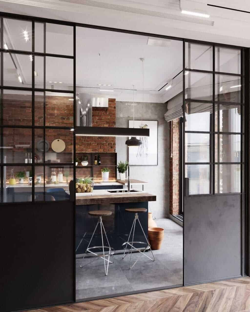 glass sliding doors with black metal frame, room door designs for kitchen