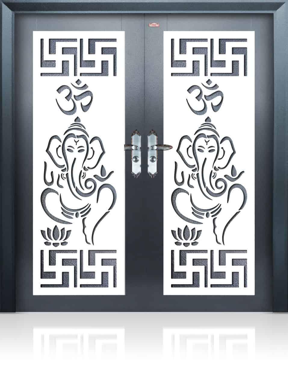 Artistic pooja room double door design