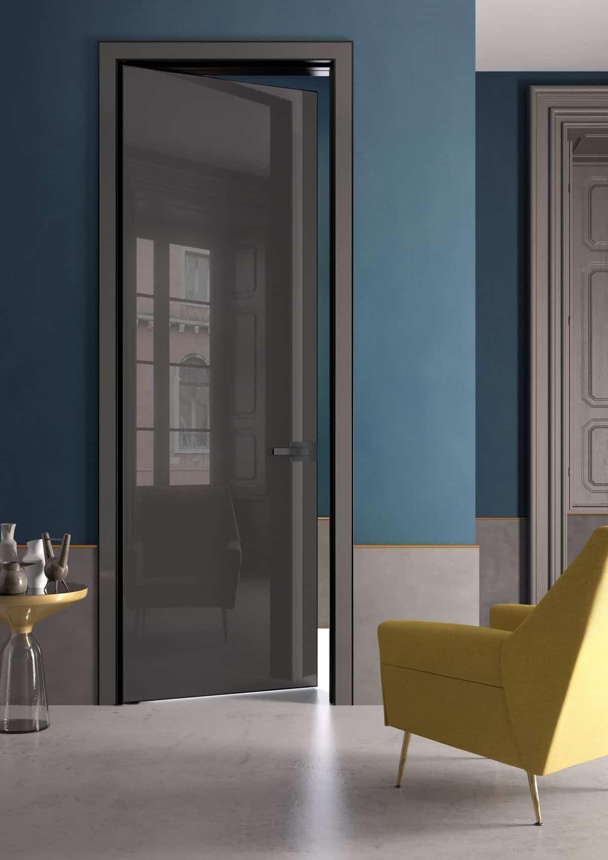 living room door design with grey high gloss laminates