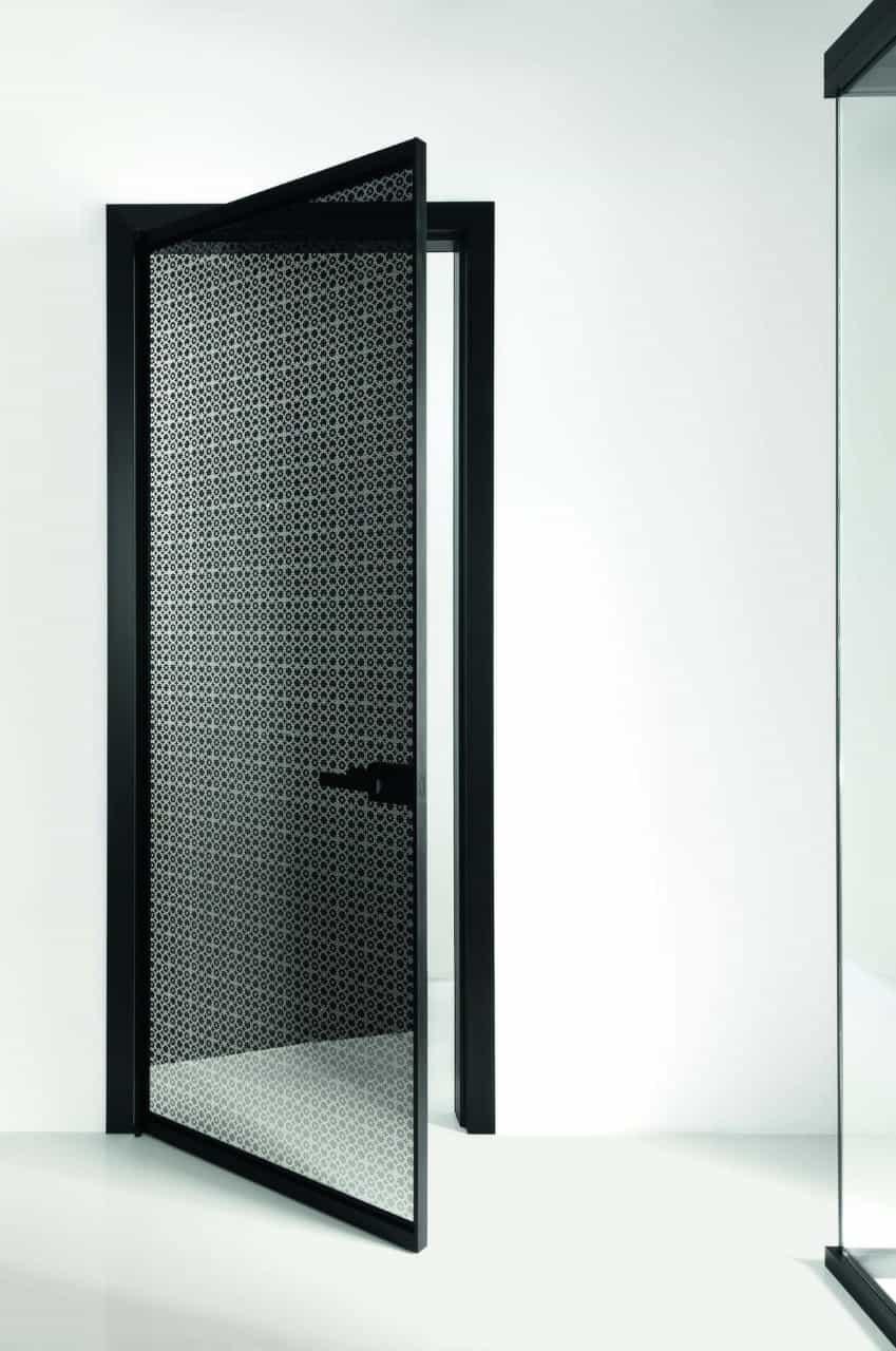black door with mesh pattern
