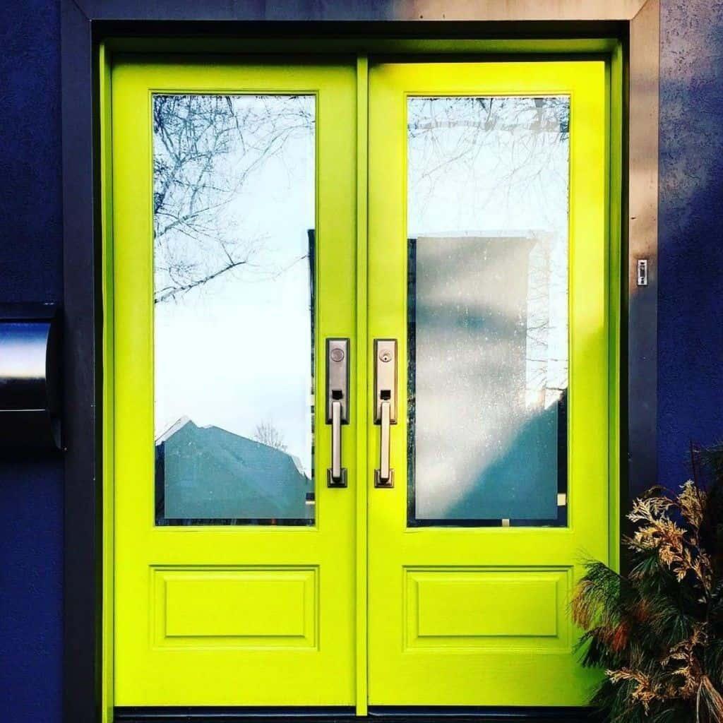 neon door with huge glass panel