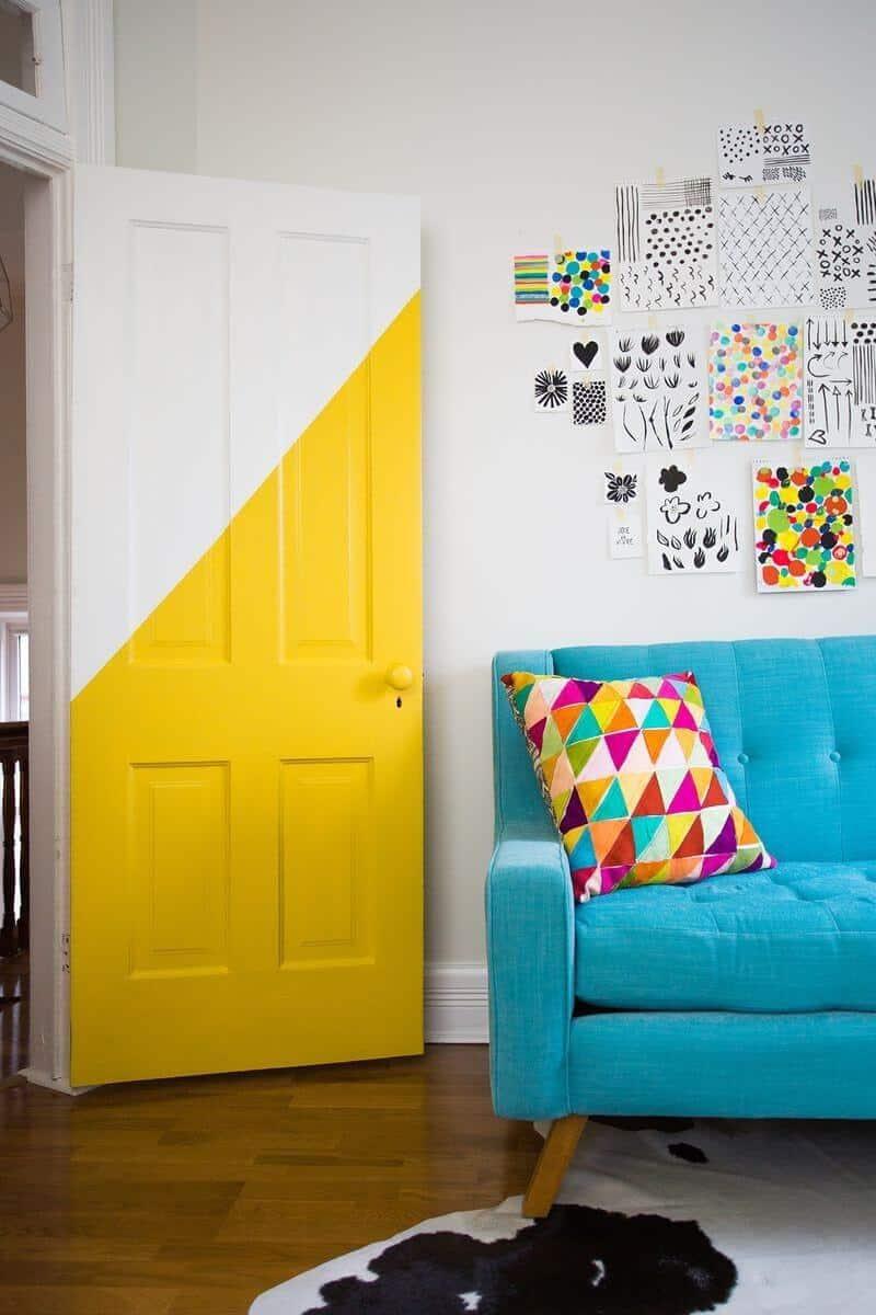 modern room door, yellow and white painted door