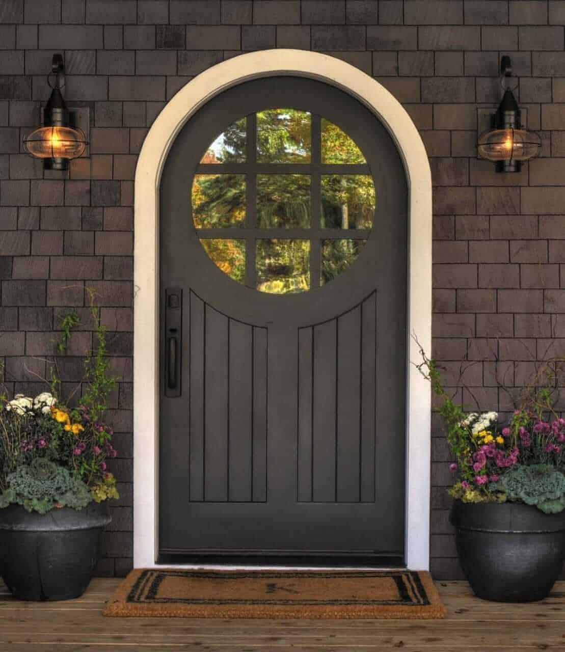 dark grey arched door