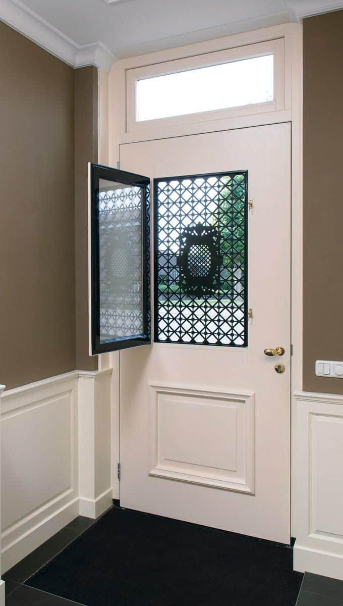 white door with a window cutout on top half, room door designs with window