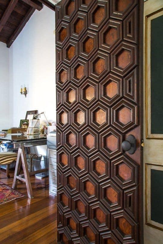 wood door design with honeycomb pattern