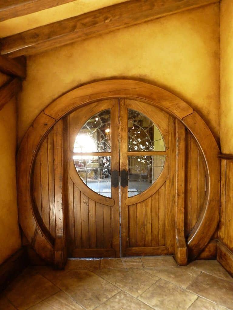 round wood door with glass panels, front door designs