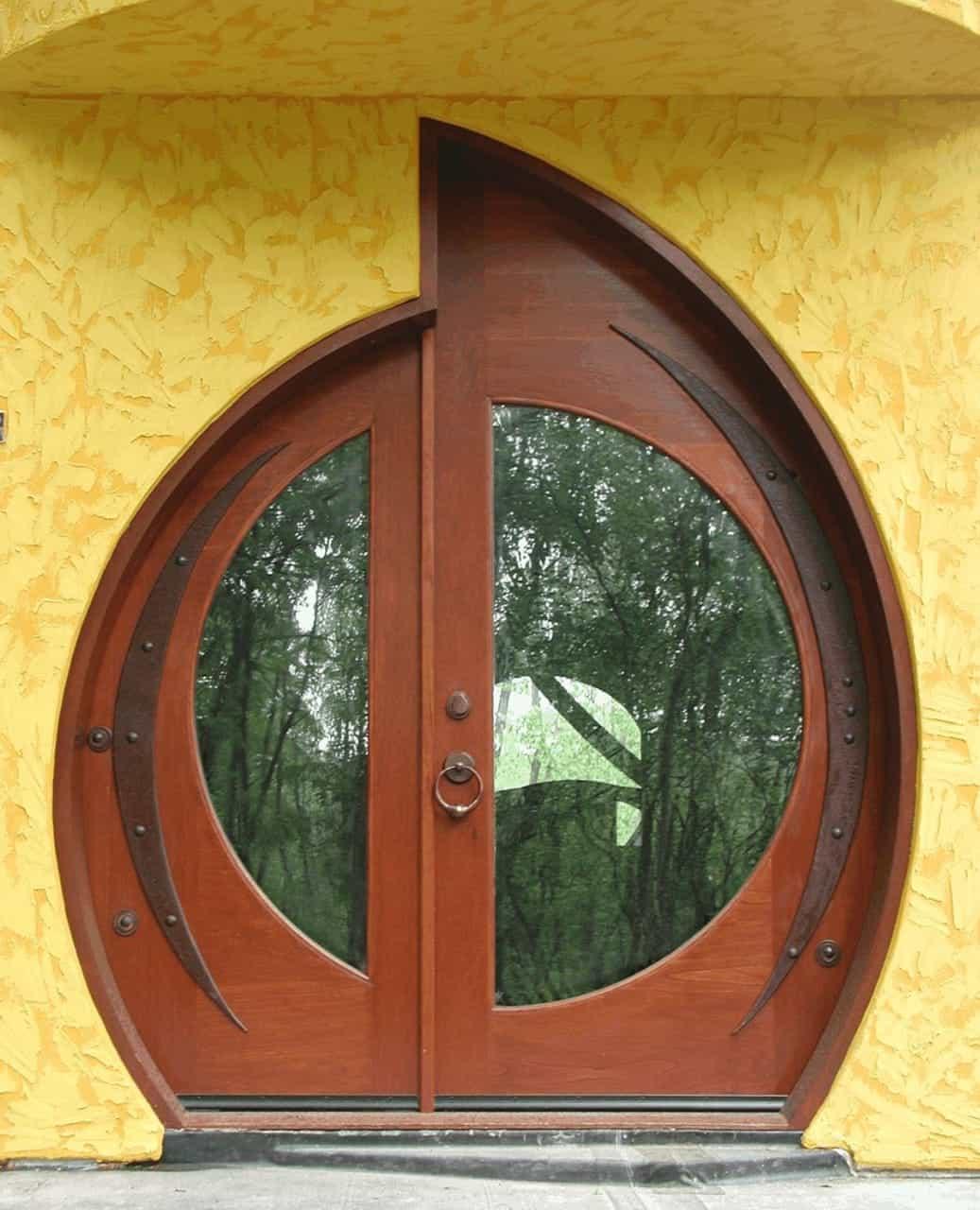 round modern door designs in wood with glass panel