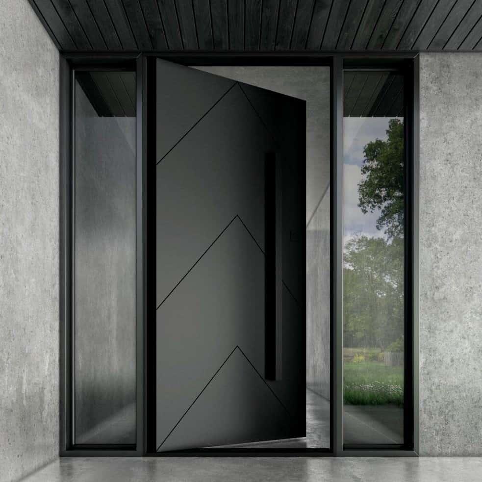 black double door iron door design