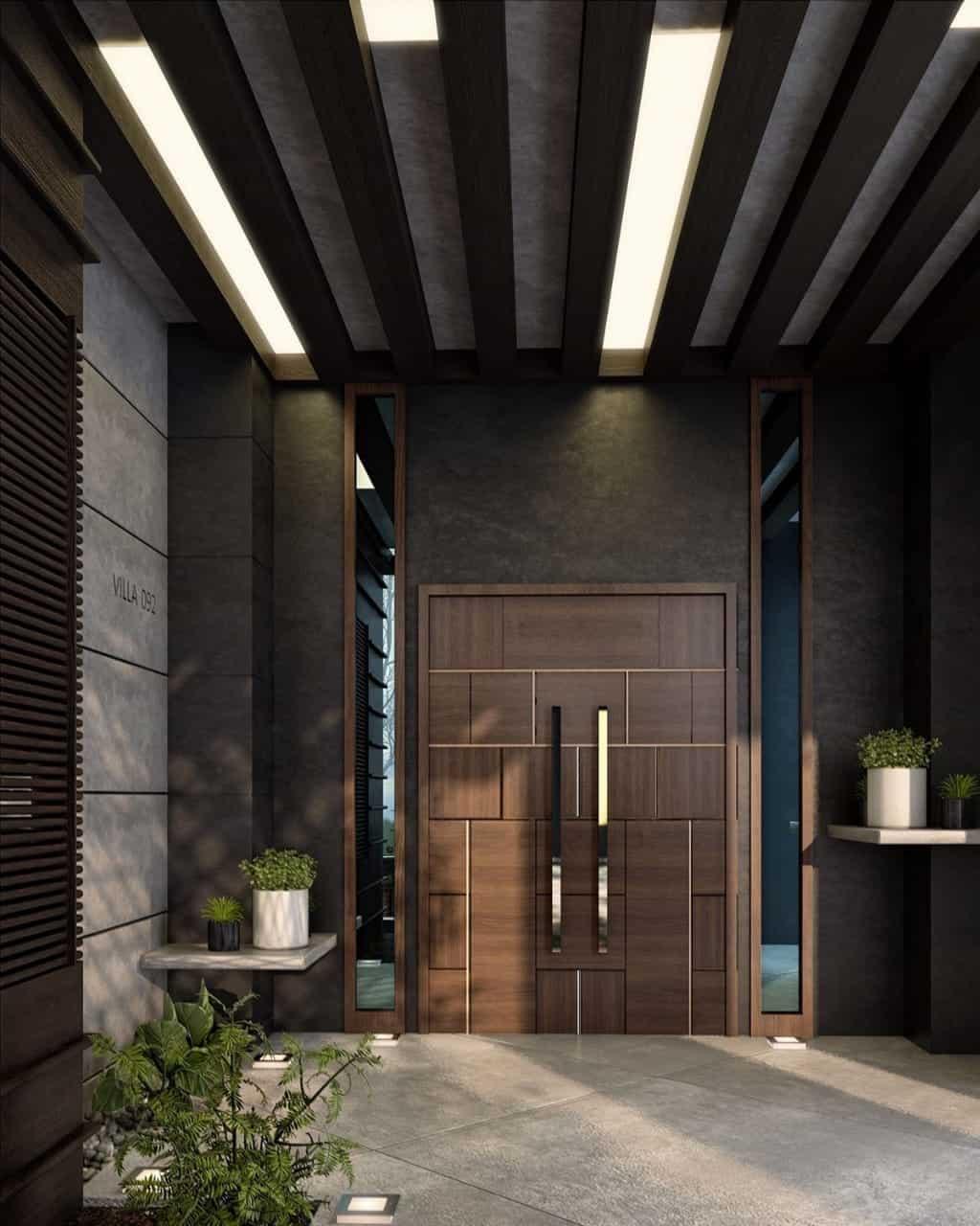 wood door design with golden accents