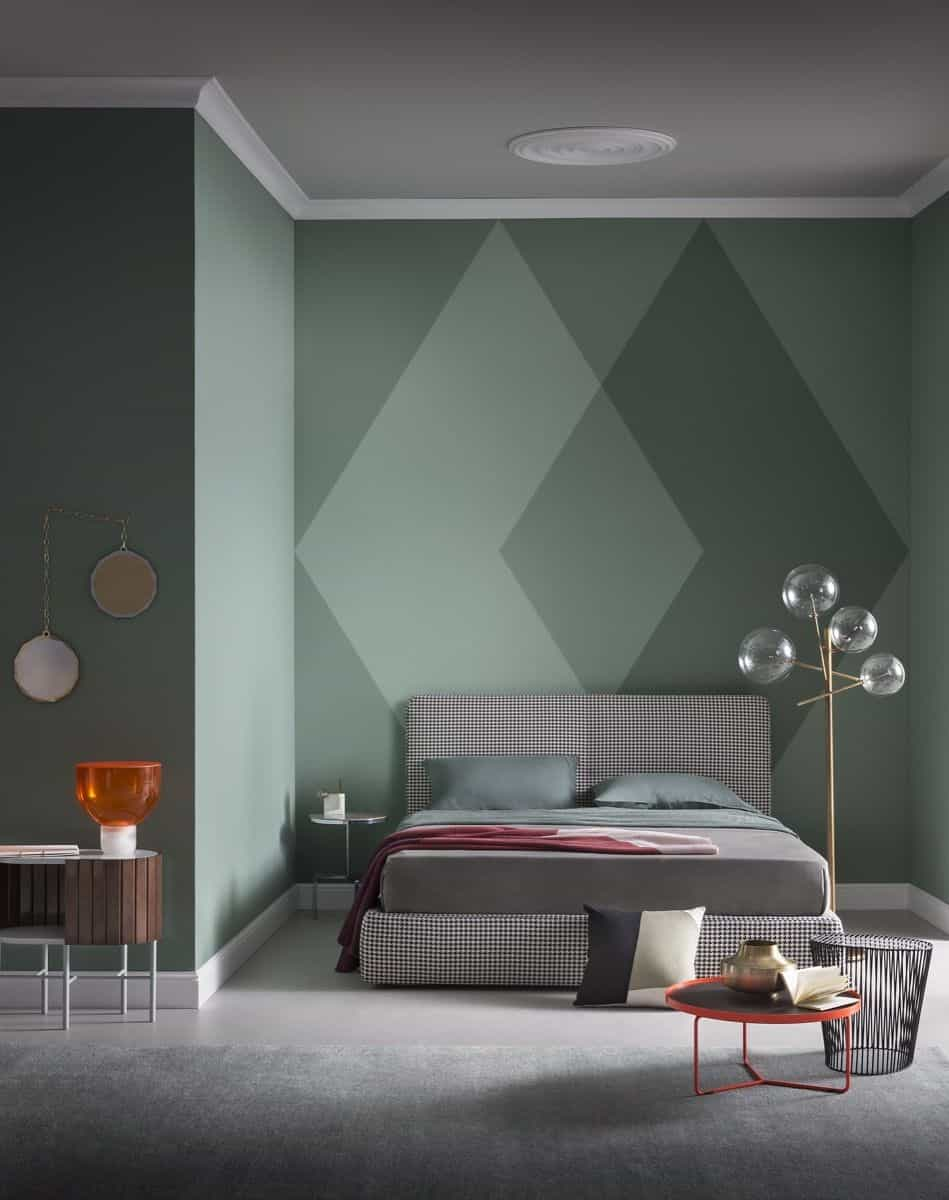 two-toned green colorblock wall paint design