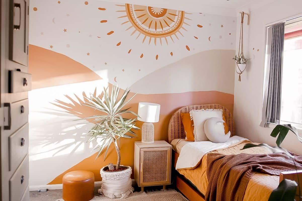warm honey orange wall paint design for bedroom