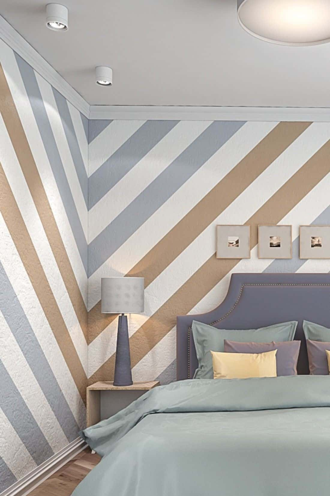 bold striped bedroom wall paint design ideas using blue and brown pastel shades