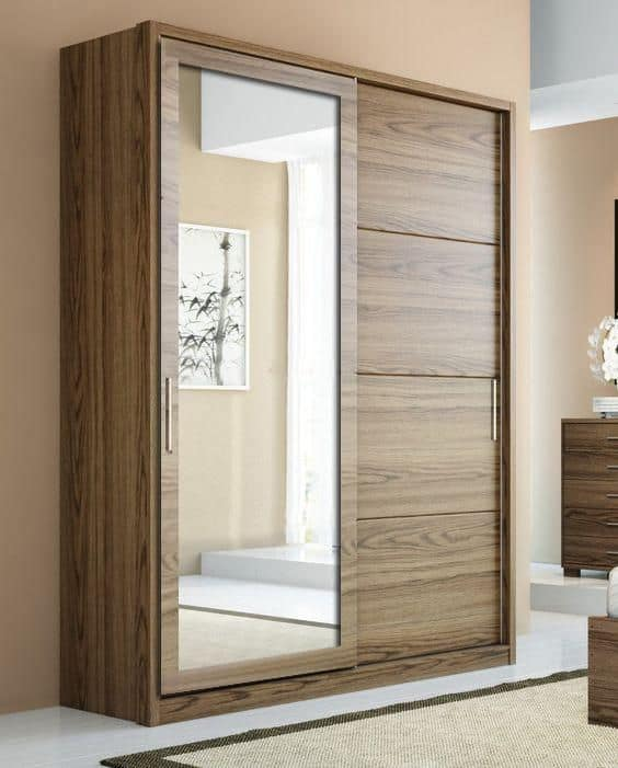 wardrobes mirror for a wooden closet with interior design, lights, and drawer system