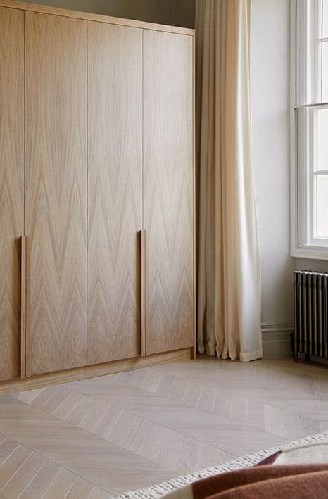 light brown patterned wardrobes with curtains