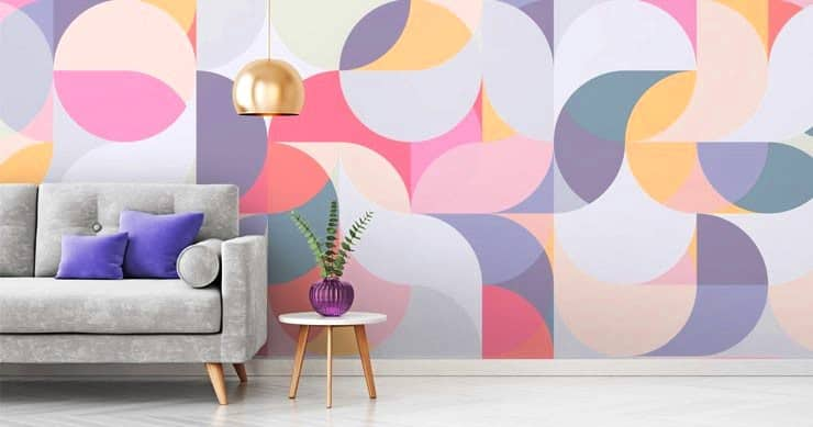 wall paint design with color block shapes