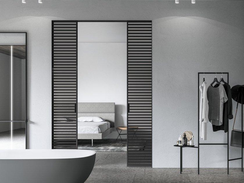 iron sliding door design with horizontal bars in black color